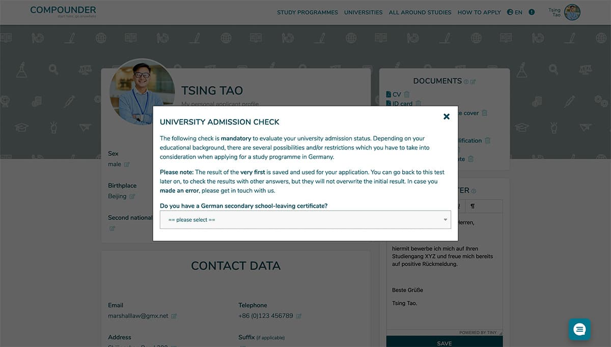 1) Create your applicant profile and check your admission
